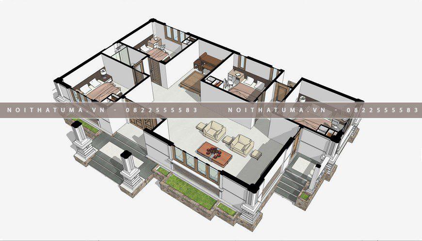 Nhà cấp 4 mái thái 1 tầng 24m x 30m với 4 phòng ngủ và phòng bếp tách biệt, Nhà cấp 4 mái thái 1 tầng 24m x 30m, , Nhà cấp 4 mái thái, Nhà Cấp 4