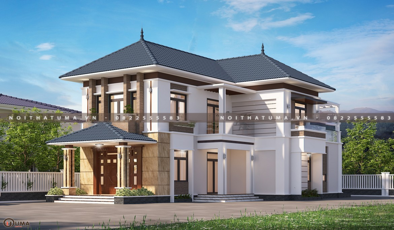 Nhà cấp 4 mái thái 2 tầng 30m x 15m 5 phòng ngủ tại Bắc Giang