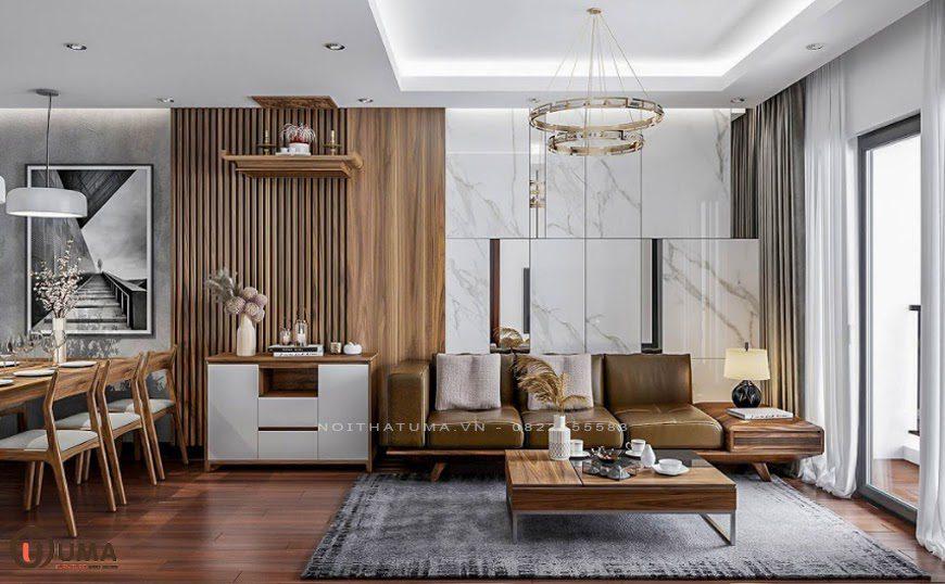 Mẫu phòng khách cho chung cư với phong cách tối giản