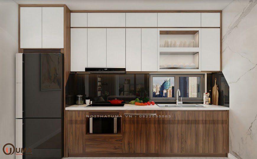 Mẫu phòng bếp mang phong cách tối giản cho căn hộ chung cư