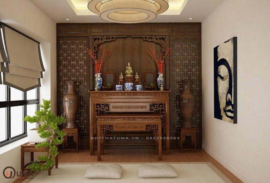 Mẫu phòng thờ được thiết kế theo phong cách Đông Dương