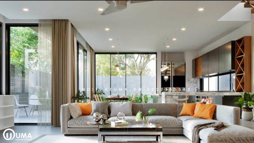 Mẫu nội thất phòng khách mang phong cách đương đại