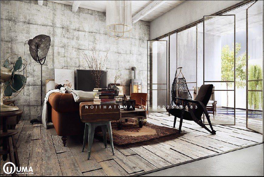 Không gian căn hộ được thiết kế với phong cách Vintage