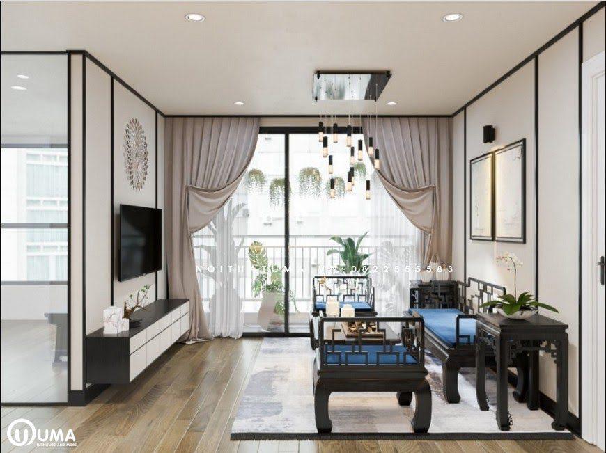 Phòng khách thiết kế với phong cách Á Đông