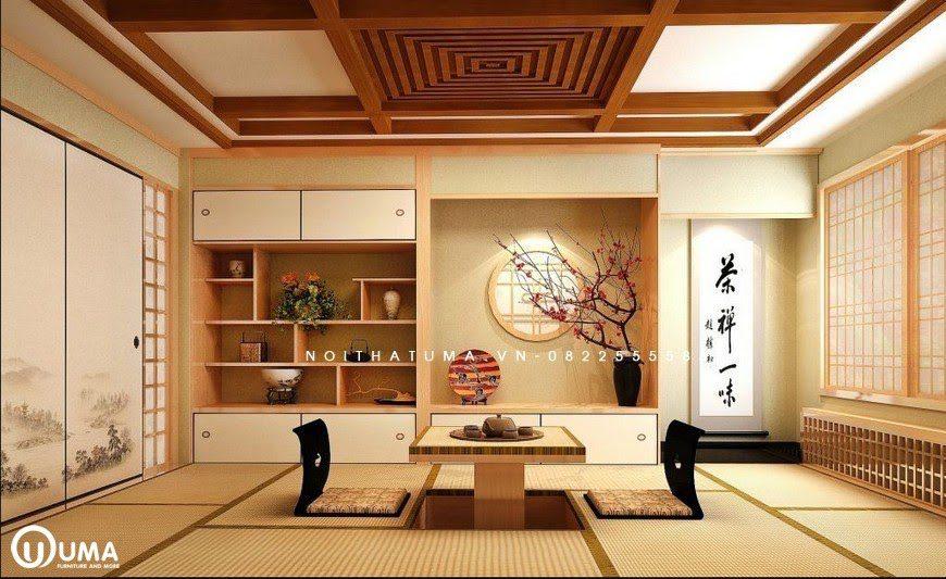 Không gian phòng khách được thiết kế với phong cách Nhật Bản