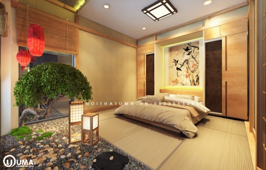 Sự hòa quyện không gian xanh trong phòng ngủ Nhật Bản