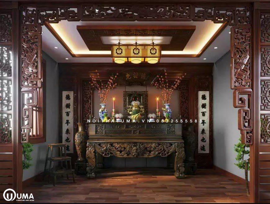 Phòng thờ với phong cách Á Đông sang trọng