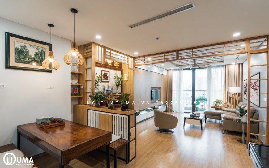 Không gian phòng thờ cho chung cư được thiết kế với phong cách Nhật Bản