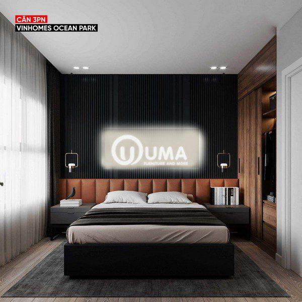 Đi vào phòng ngủ lớn được gia chủ đặc biệt chú trọng với tông màu chủ đạo là màu xanh than. Sử dụng chiếc giường hộp đặt giữa không gian căn phòng.