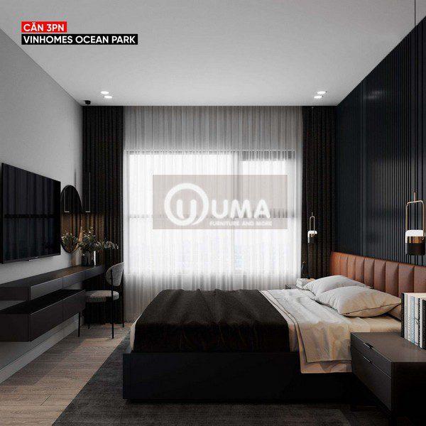Bên cạnh chiếc giường là hướng cửa lớn được hưởng trọn ánh sáng tự nhiên chiếu vào.