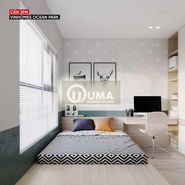 Phòng ngủ nhỏ cũng được trang bị nội thất đầy đủ từ giường, ngủ bàn học, kệ trang trí,...