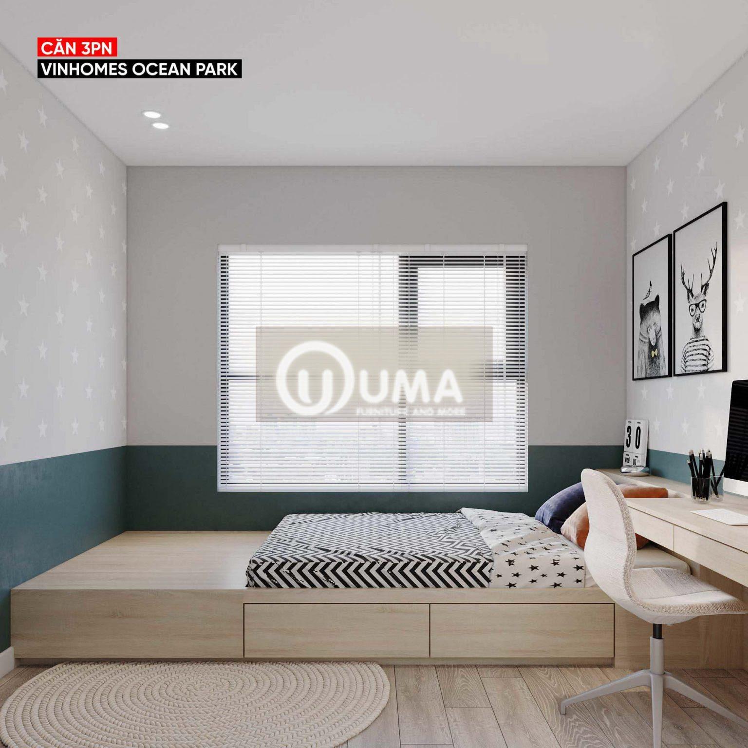 Sử dụng giường hộp đặt bên khung cửa sổ hưởng trọn ánh sáng tự nhiên chiếu vào.