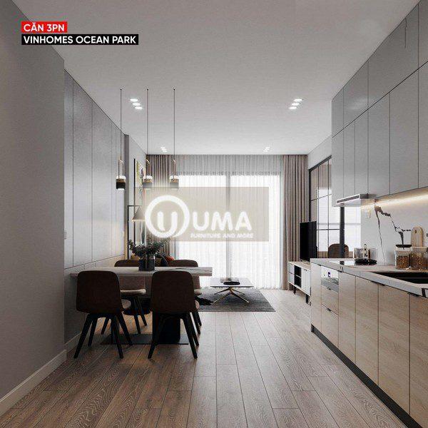 Từ phòng bếp nhìn ra là chiếc bàn ăn, đến không gian phòng khách là một khoảng không gian liên mạch.