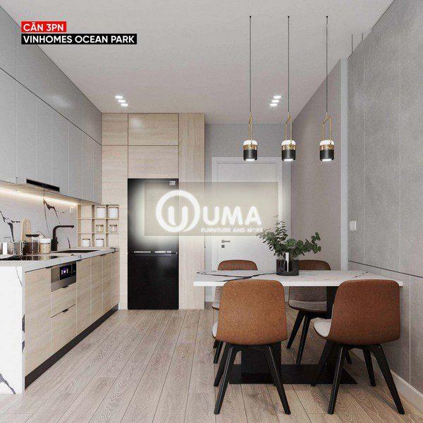 Phòng bếp và khu vực ăn uống được thiết kế khá nhẹ nhàng và đơn giản.