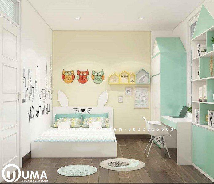 Phòng ngủ được thiết kế trẻ nhỏ, được trang trí với những hình ảnh dễ thương từ các con vật.