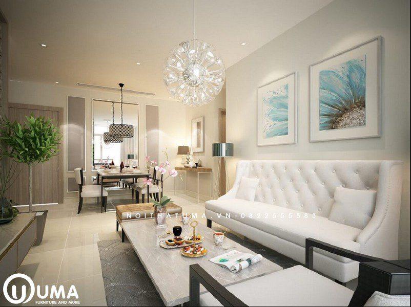 Từ phòng khách nhìn ra bao quát toàn bộ không gian phòng ăn, sử dụng phong cách thiết kế hiện đại.