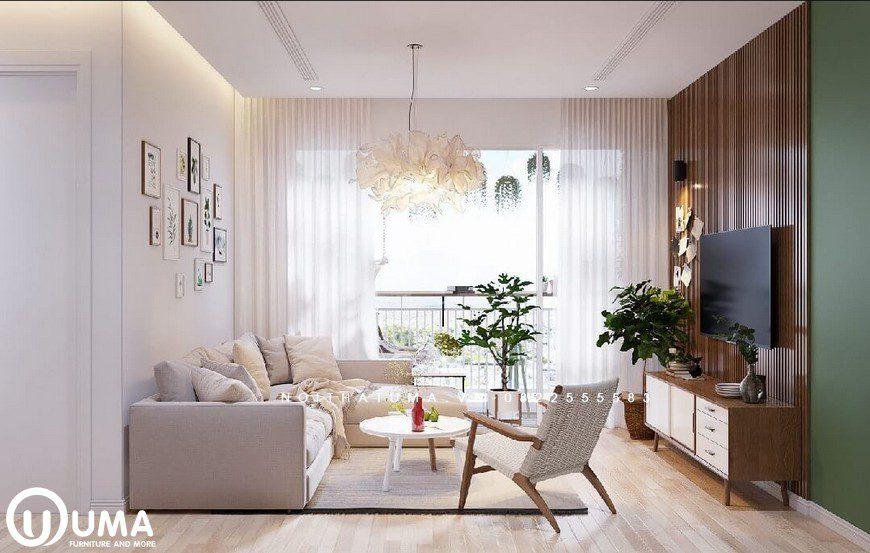 Phòng khách được lựa chọn bộ sofa màu trắng sữa, ngay bên khung cửa sáng hưởng trọn ánh sáng tự nhiên.Phòng khách được lựa chọn bộ sofa màu trắng sữa, ngay bên khung cửa sáng hưởng trọn ánh sáng tự nhiên.