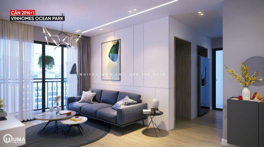 Phòng khách được thiết kế tại một không gian sang trọng, hưởng trọn ánh sáng tự nhiên thông qua khung cửa ban công.