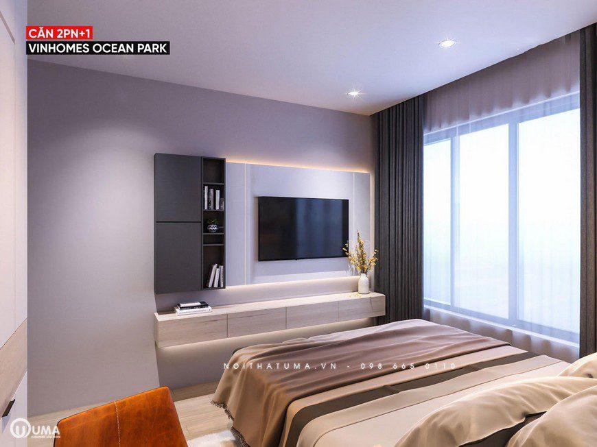 Phòng ngủ lớn được thiết kế đầy đủ cả kệ tivi theo lối hiện đại và thông minh.