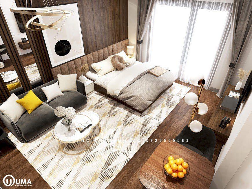 Không gian phòng khách và giường ngủ được thiết kế trong cùng một khoảng diện tích khá bắt mắt.