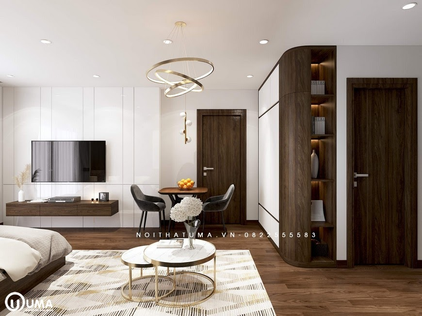 Từ phòng khách nhìn ra là không gian phòng ăn và nơi để tủ đồ khá tiện ích.