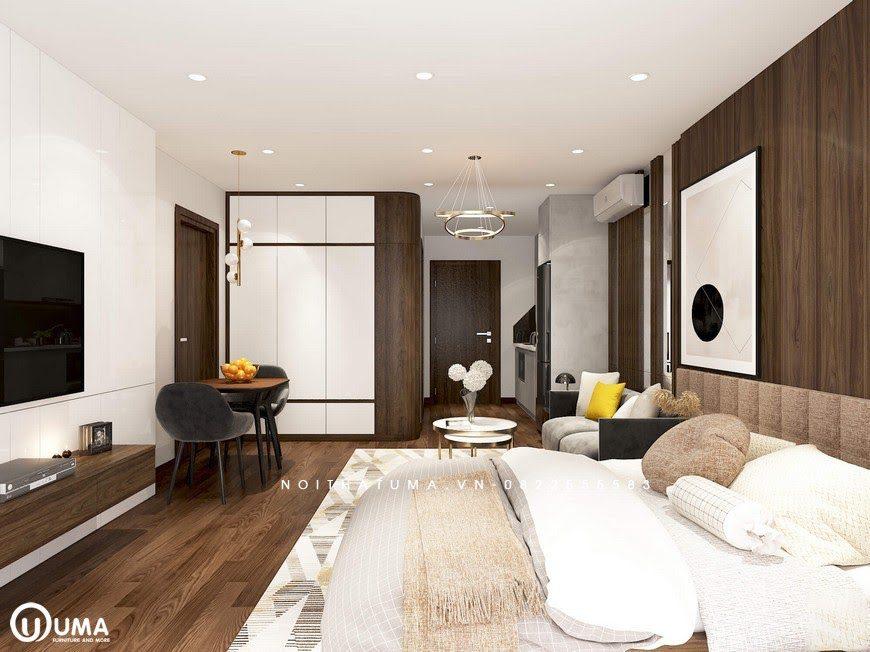 Từ giường ngủ nhìn ra tổng thể cho cả căn hộ với cái nhìn bao quát.