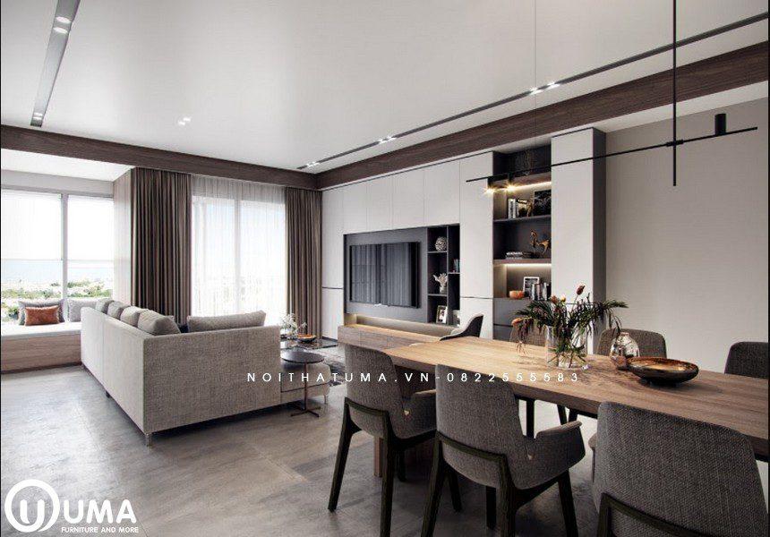 Từ một khóc bao quát không gian phòng ăn và phòng khách được thiết kế trong cùng lối đi riêng.