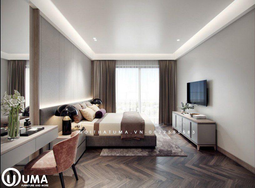 Phòng ngủ được thiết kế theo phong cách hiện đại, khá đơn giản chỉ với chiếc giường hộp đặt giữa không gian, cùng bộ trang điểm và kệ tivi. Được hưởng trọng ánh sáng tự nhiên qua khung cửa nhỏ.