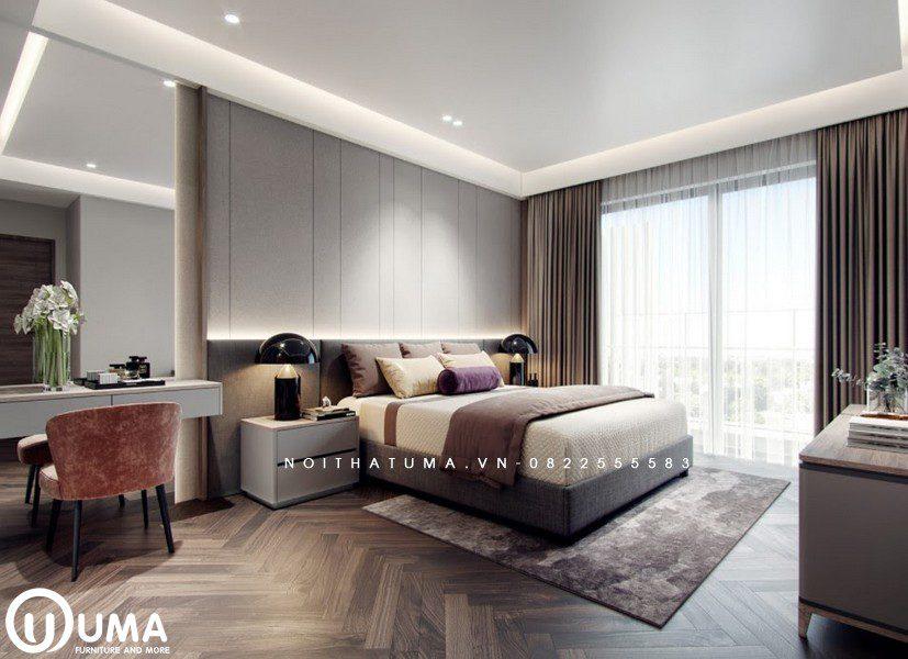 Chiếc giường hộp được lựa chọn khá đơn giản và nhẹ nhàng đặt trên chiếc thảm màu nâu làm điểm nhấn trọng tâm cho không gian.
