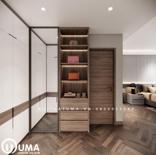 Phần kệ trang điểm và táp đầu giường cũng được trang trí gọn nhẹ và thông minh, nhằm tiết kiệm diện tích cho căn phòng.