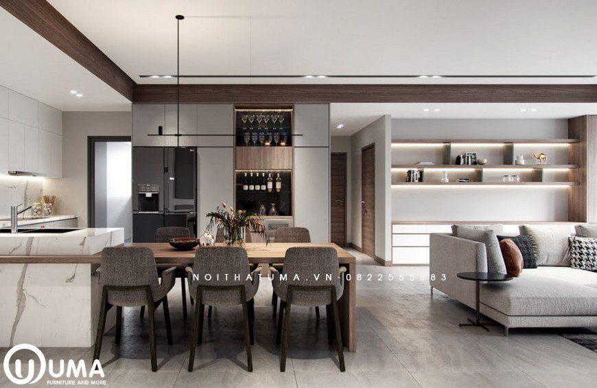 Không gian bàn ăn được thiết kế ngay bên phòng bếp, tạo ra sự tiện ích và sang trọng nơi đây.