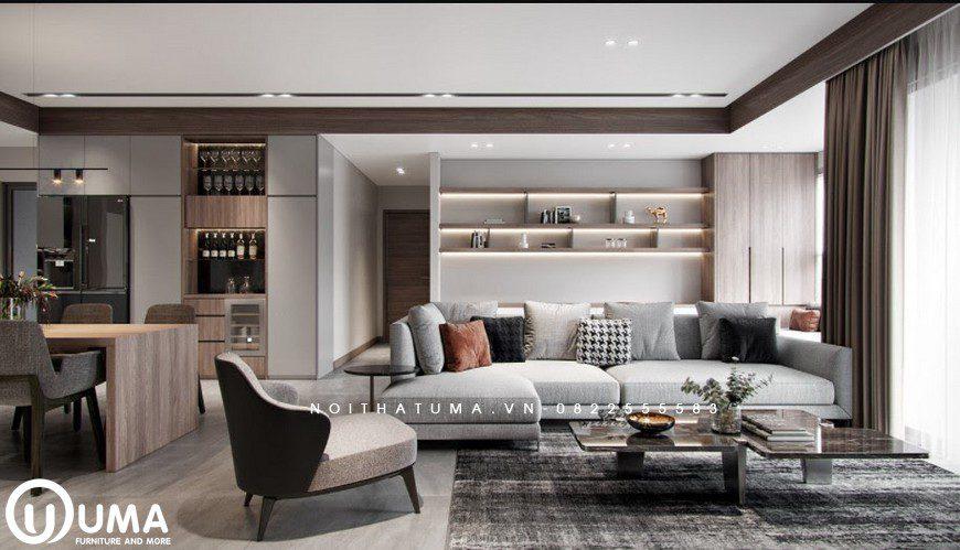 Phòng khách sử dụng bộ sofa màu trắng sữa, kết hợp với chiếc bàn hiện đại, đặt trên chiếc thảm nỉ màu xám.