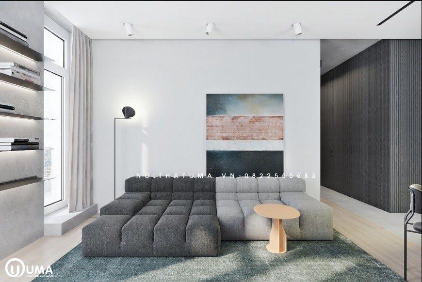 Chiếc ghế sofa được lựa chọn cũng rất độc đáo, gồm có 2 màu nâu và màu đen, trên được chia thành các ô vuông nhỏ nhắn.