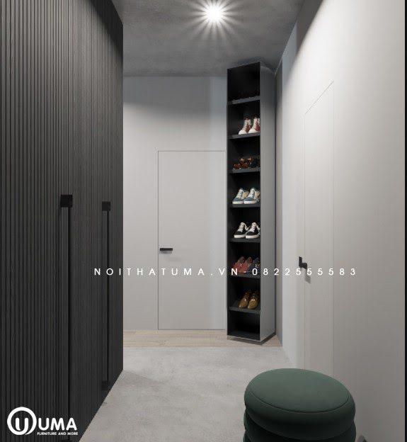 Sử dụng hành lang nhỏ nhắn đi vào phòng khách làm nơi trang trí tủ giày, và cũng là nơi để thay đồ khá tiện ích.