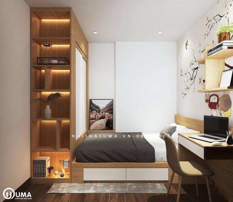 Đến với phòng ngủ nhỏ được thiết kế cũng khá bắt mắt. giường ngủ và kệ để đồ được thiết kế vào một khoảng không nhỏ gọn.