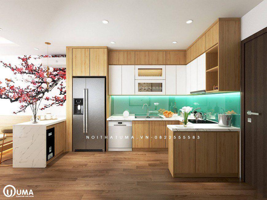 Không gian phòng bếp được thiết kế cũng khá rộng rãi, với kính bếp màu xanh nước biển, khá bắt mắt và tươi sáng làm điểm nhấn cho không gian.