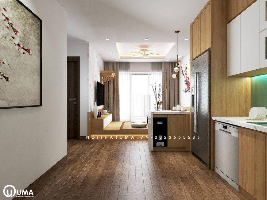 Từ phòng bếp nhìn thẳng ra không gian phòng khách tạo một lối đi thông thoáng.