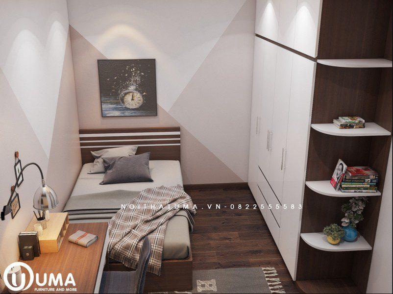 Tổng thể từ trên nhìn xuống không gian phòng ngủ nhỏ khá đầy đủ nội thất cần thiết cho chủ nhân sở hữu căn phòng.