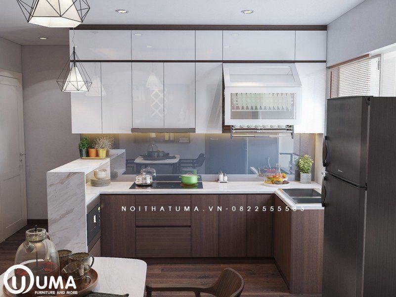 Không gian phòng bếp được thiết kế nhỏ gọn với hình chữ U, tận hưởng trọn vẹn ánh sáng chiếu vào thông qua khung cửa nhỏ.