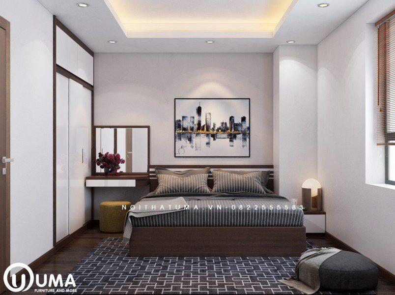 Phòng ngủ lớn được thiết kế đầy đủ các vận dụng nội thất cần thiết, với chiếc giường hộp đặt giữa phòng trên chiếc thảm kẻ sang trọng.