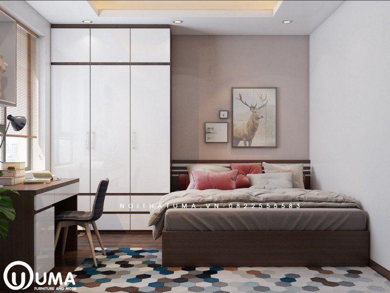 Đến phòng ngủ nhỏ thứ 2 cũng được trang bị với chiếc giường họp, cùng chiếc tủ quần áo nhỏ gọn, bên cạnh là bàn làm việc gọn gàng và tiện ích đặt ngay cửa sổ.
