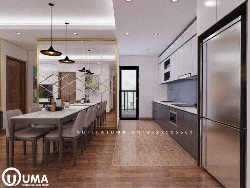 Tổng thể của phòng bếp với bàn ăn được thiết kế khá mạch lạc, thêm vào đó với chiếc gương tăng thêm độ rộng mở cho không gian.