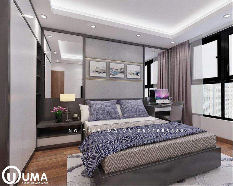 Nhìn tổng thể không gian phòng ngủ khá ngăn nắp và gọn gàng, đầy đủ các thiết bị.