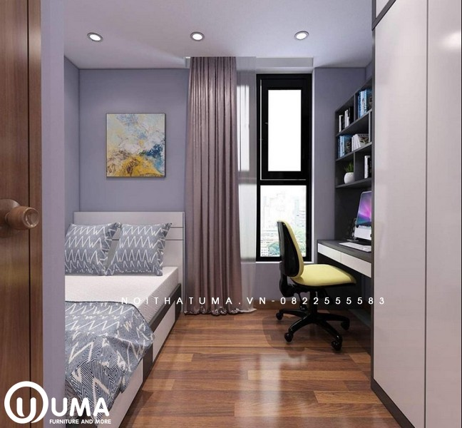Từ cửa đi vào là lối đi nhỏ bao quát toàn bộ không gian phòng ngủ khá gọn gàng và mạch lạc.