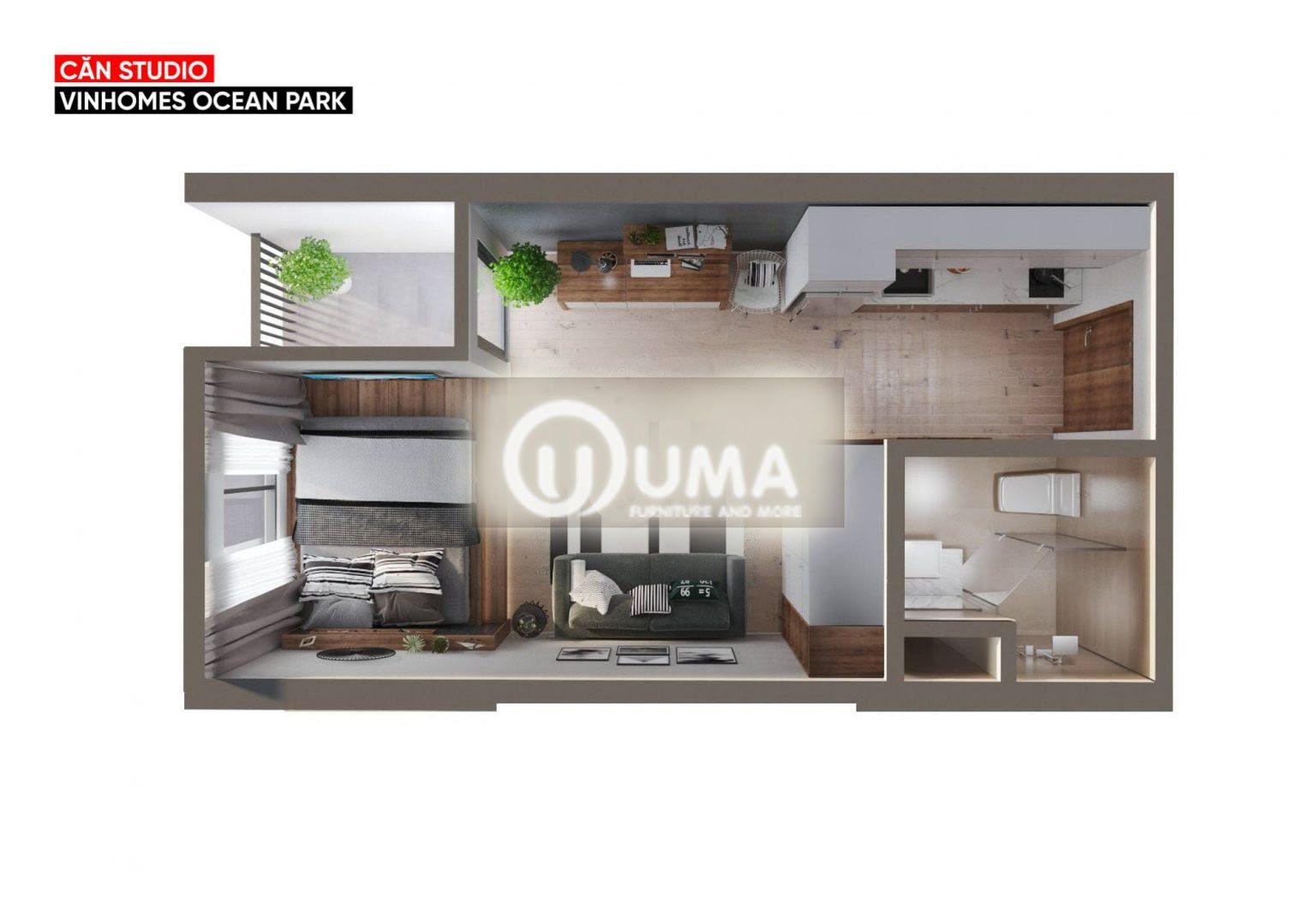 Hình ảnh tổng quan của cả không gian căn hộ chỉ 40m2 cho 1 phòng ngủ