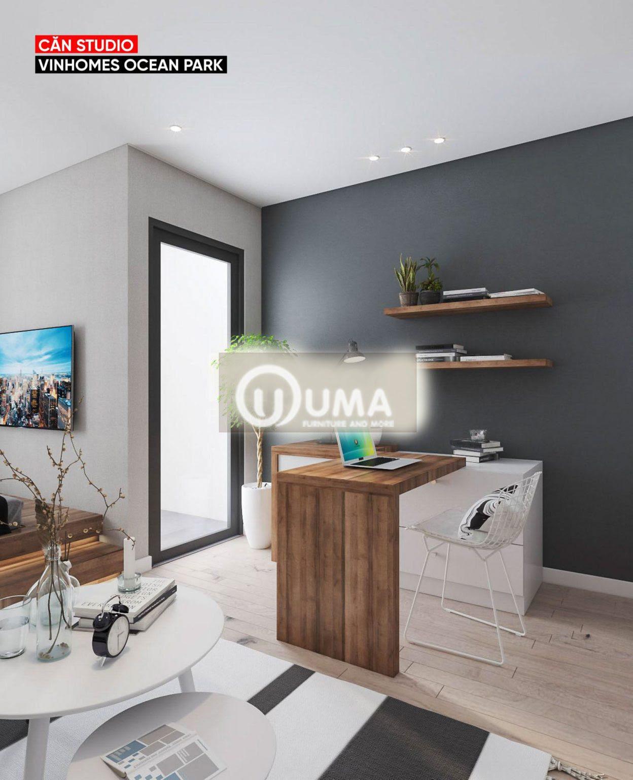 không gian phòng làm việc được thiết kế cũng khá đơn giản chỉ với chiếc bàn bar nhẹ nhàng.