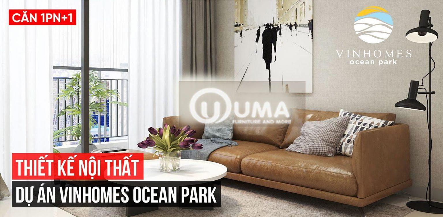 Phòng khách được sử dụng với chiếc ghế sofa màu nâu sát tường khá đơn giản.