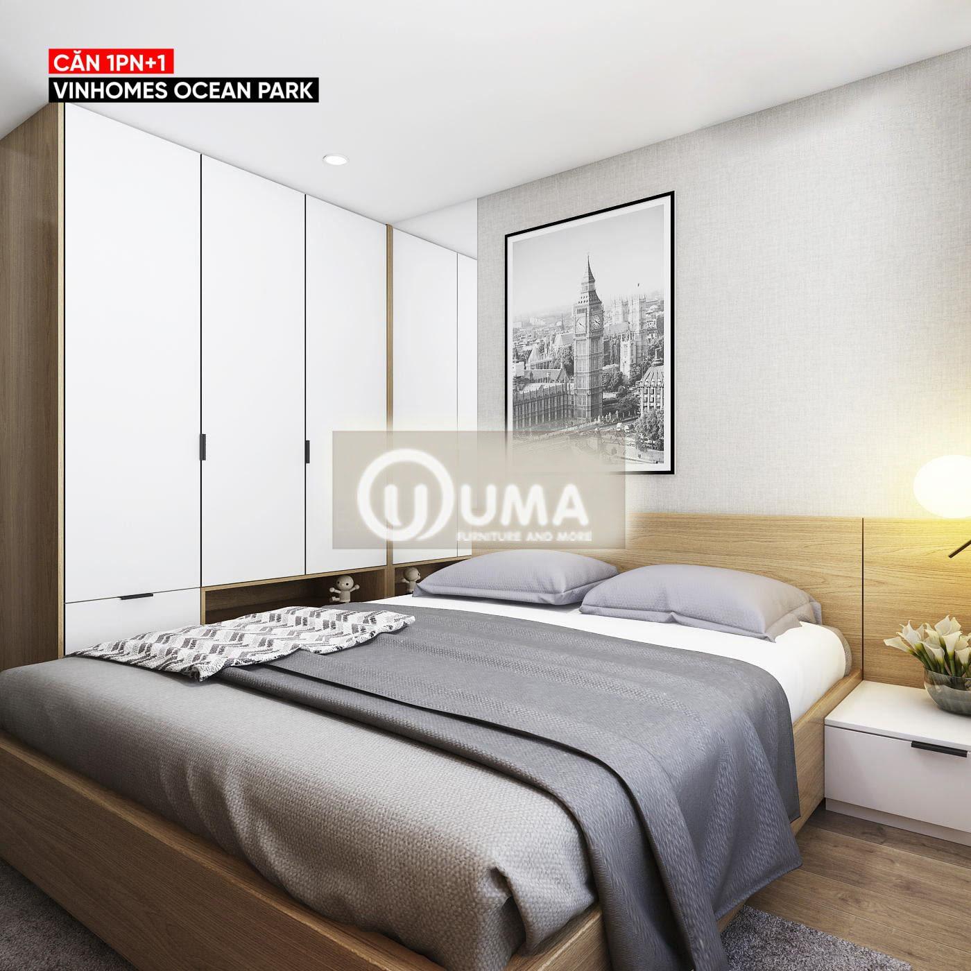 Phòng ngủ sử dụng giường hộp cùng tủ quần áo bắn sát vào tường
