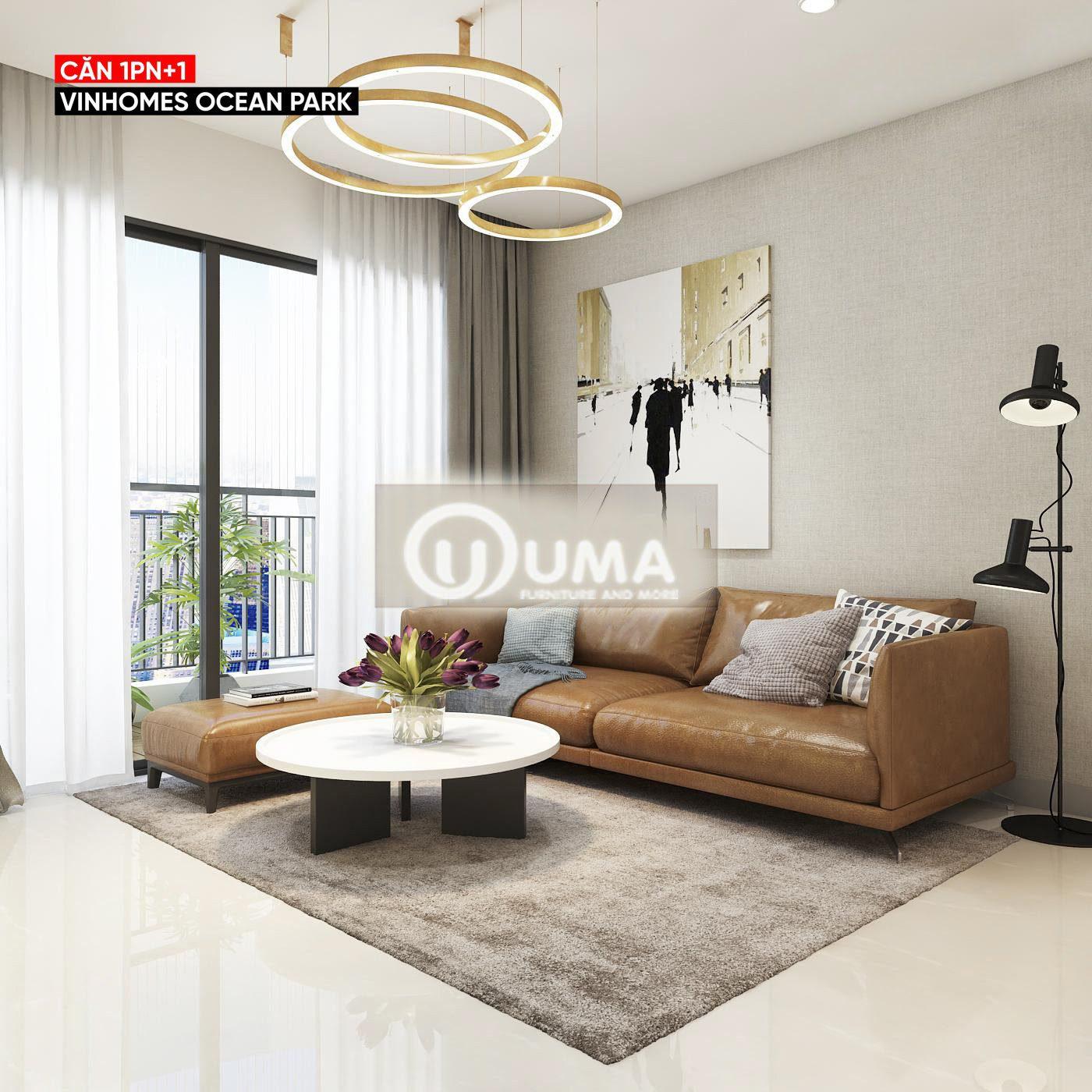 Không gian phòng khách sử dụng chiếc thảm màu nâu nhẹ nhàng làm điểm nhấn.