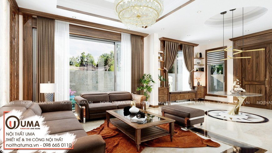 Thiết kế nội thất biệt thự đẹp với gỗ óc chó